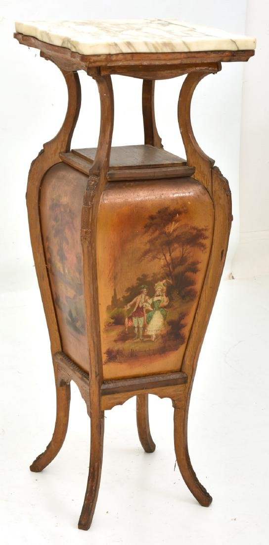 French Paint Decorated Marble Top Stand