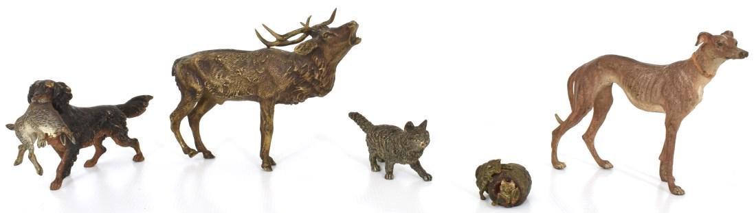 5 Bronze Miniature Animal Figures
