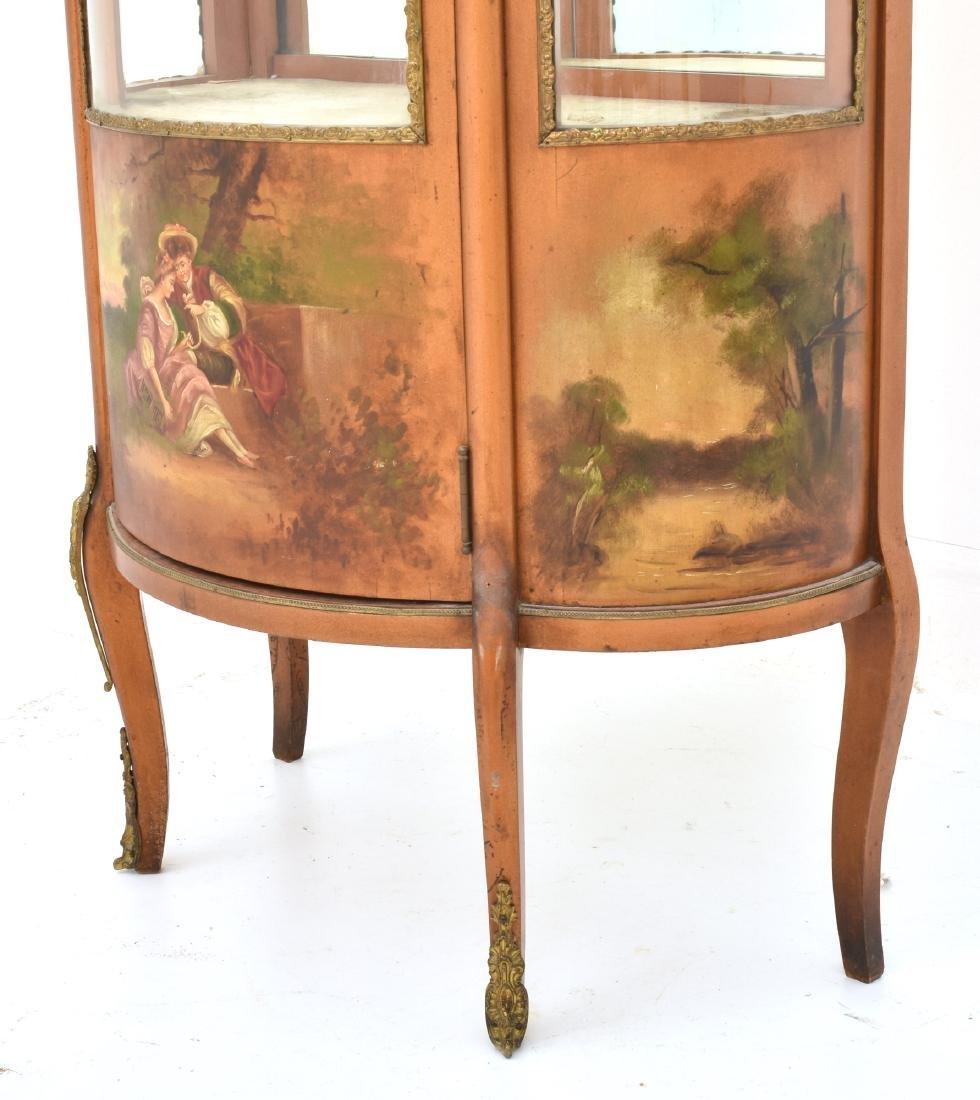 Paint Decorated Gilt Vitrine Curio Cabinet - 3