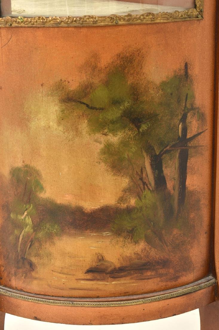 Paint Decorated Gilt Vitrine Curio Cabinet - 7