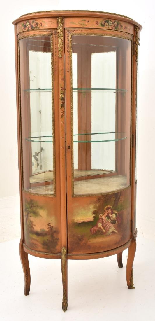 Paint Decorated Gilt Vitrine Curio Cabinet - 9