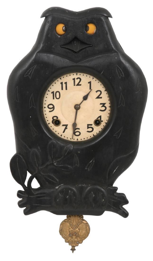 Figural Owl Blinking Eye Wall Clock