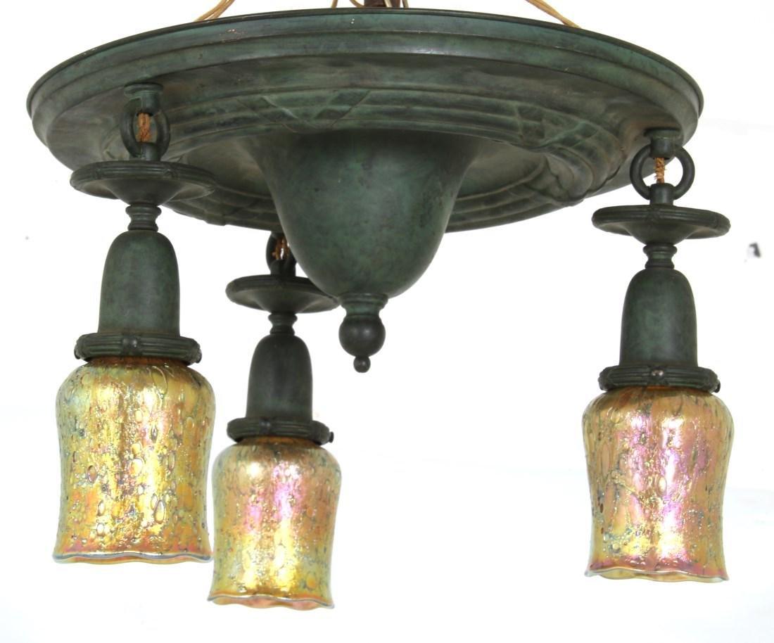 3 Light Brass Ceiling Fixture - 10