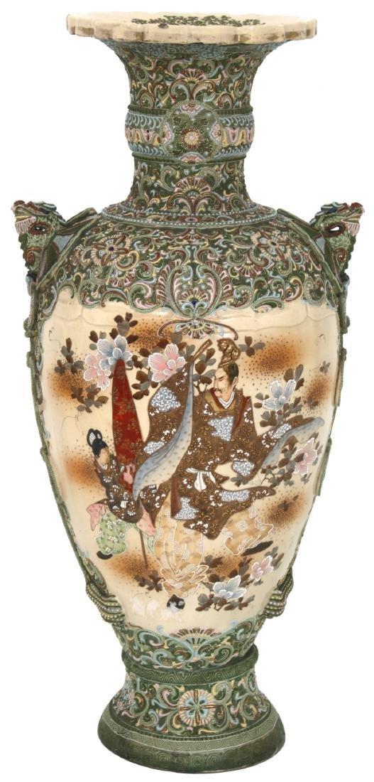 Japanese Enamel Decorated Satsuma Floor Vase