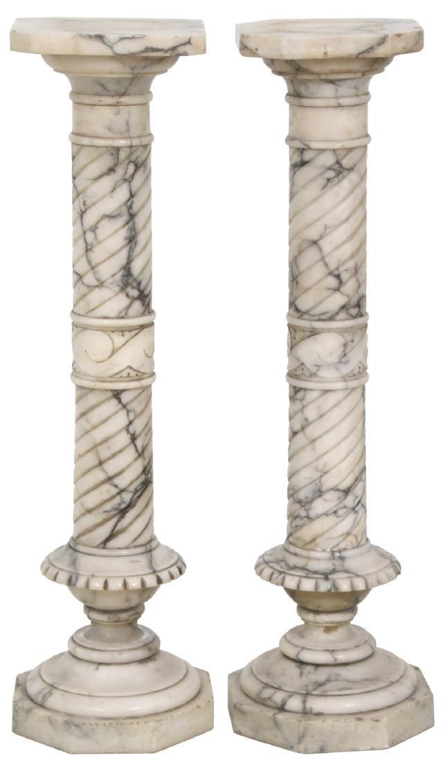 Pr. Carved Marble Pedestals