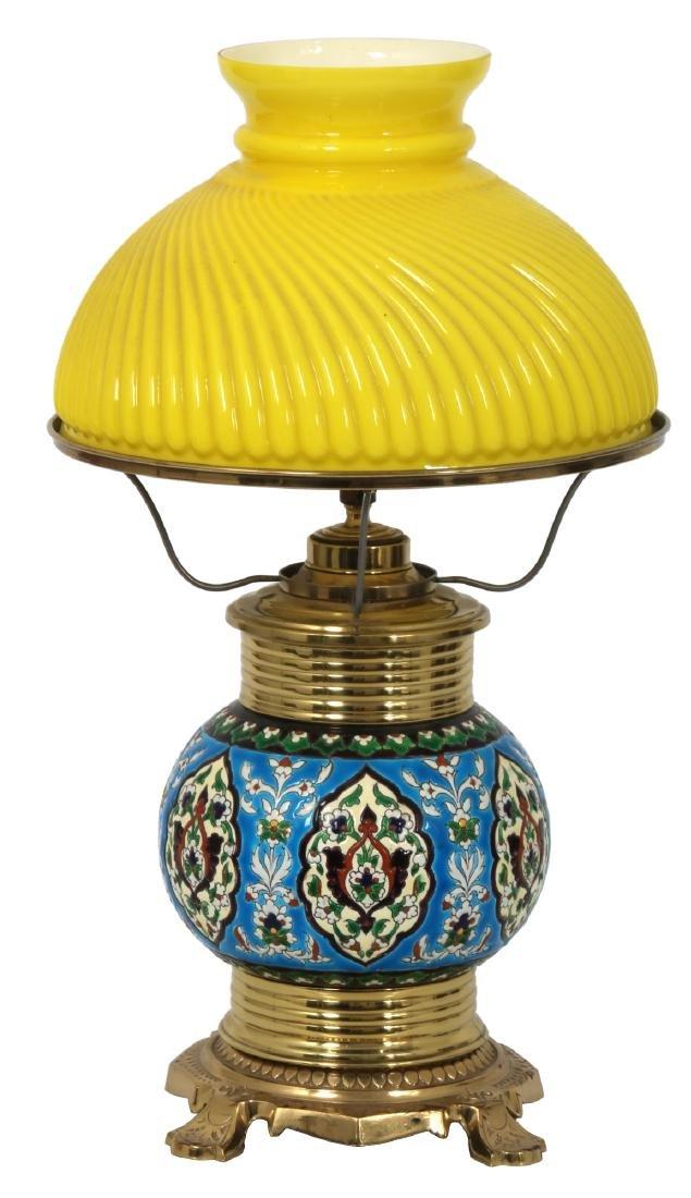 Longwy Pottery Oil Lamp