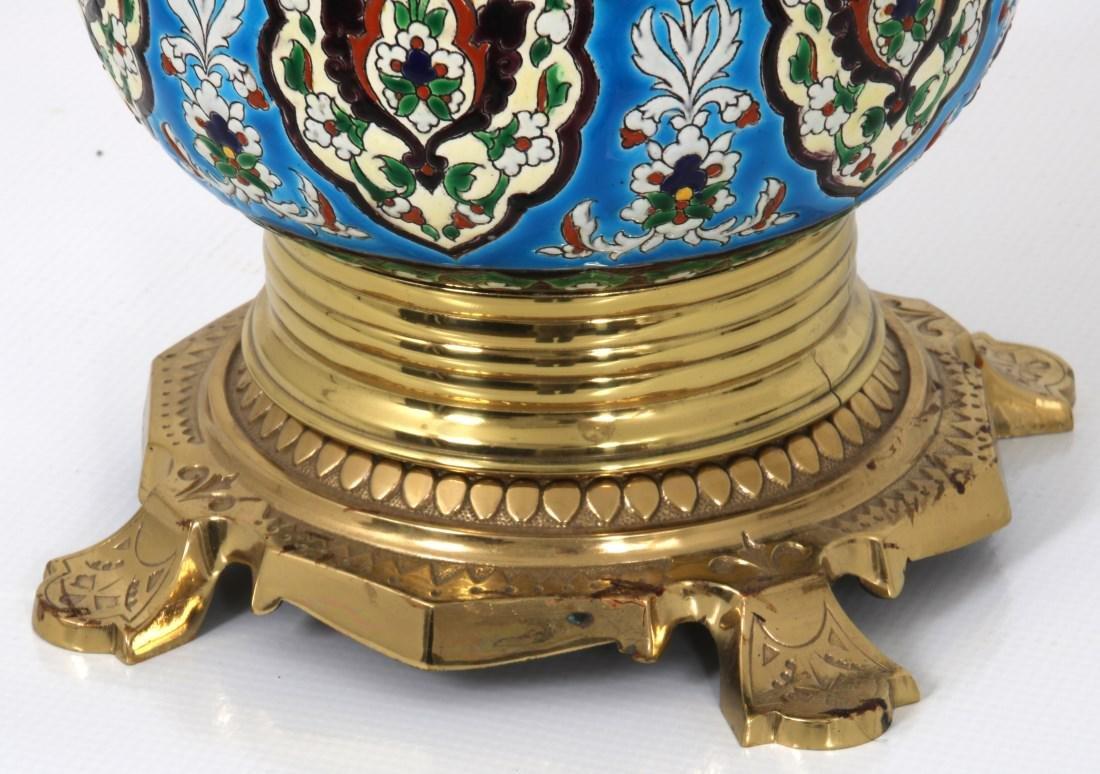 Longwy Pottery Oil Lamp - 2