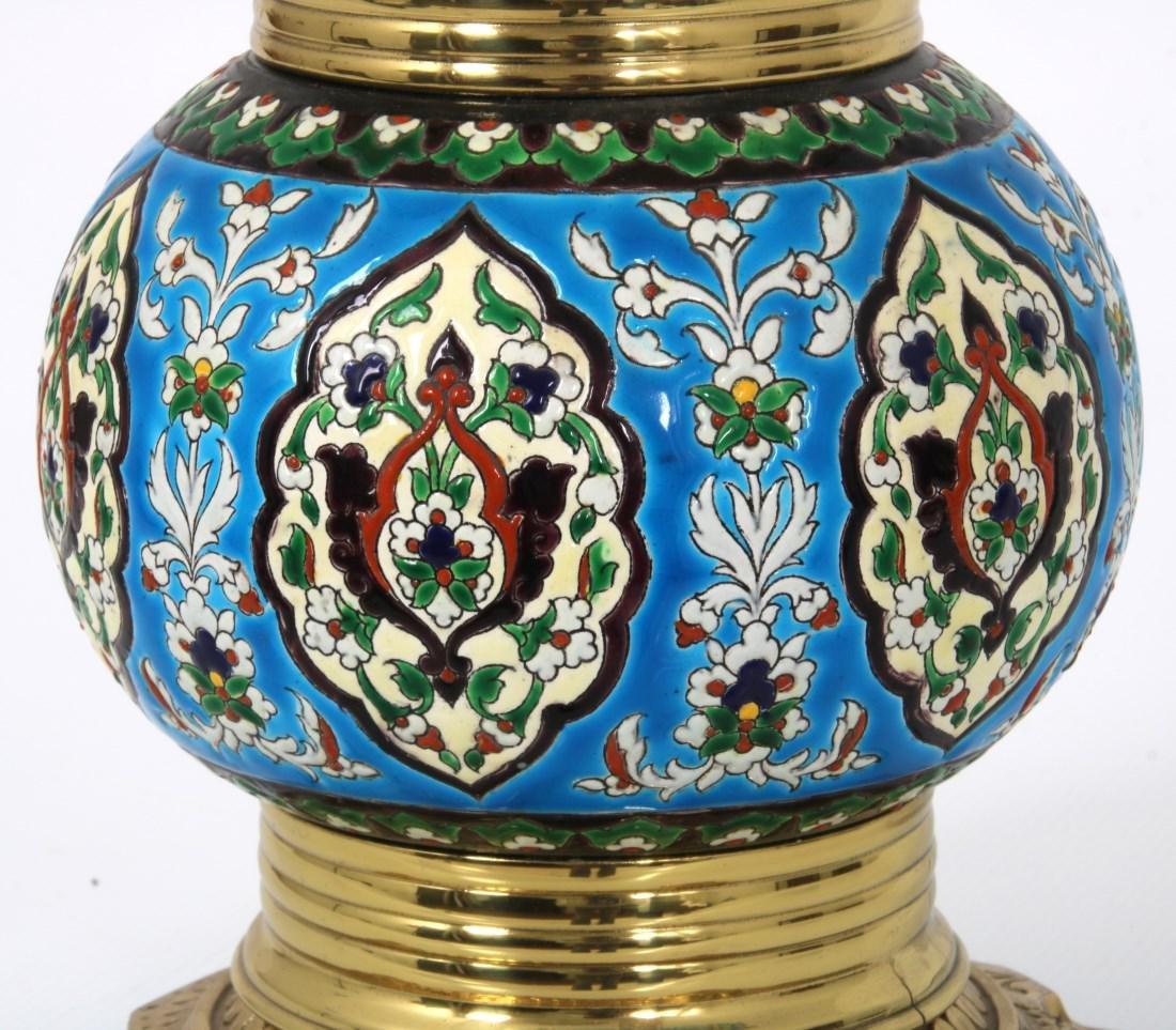 Longwy Pottery Oil Lamp - 3
