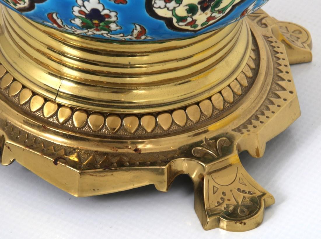 Longwy Pottery Oil Lamp - 6
