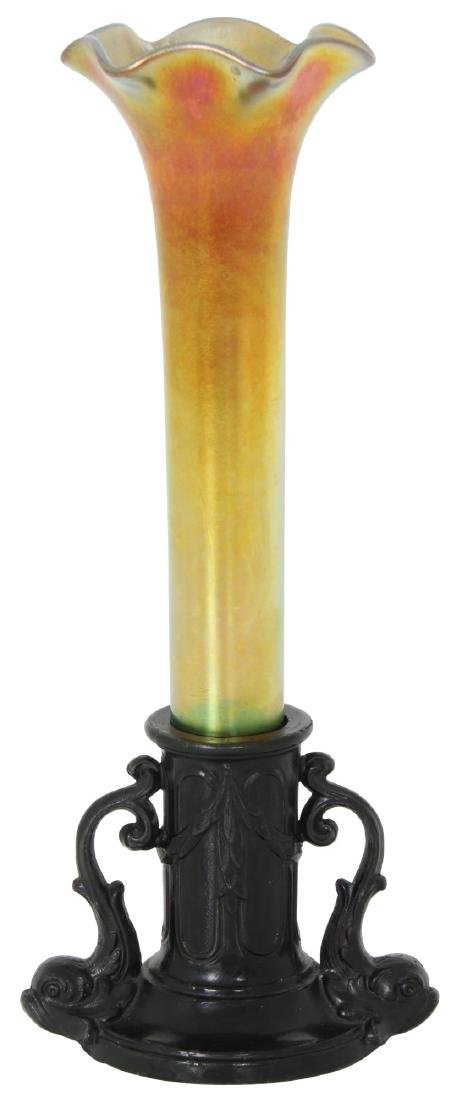 Gold Iridescent Bud Vase attr. Kew Blas