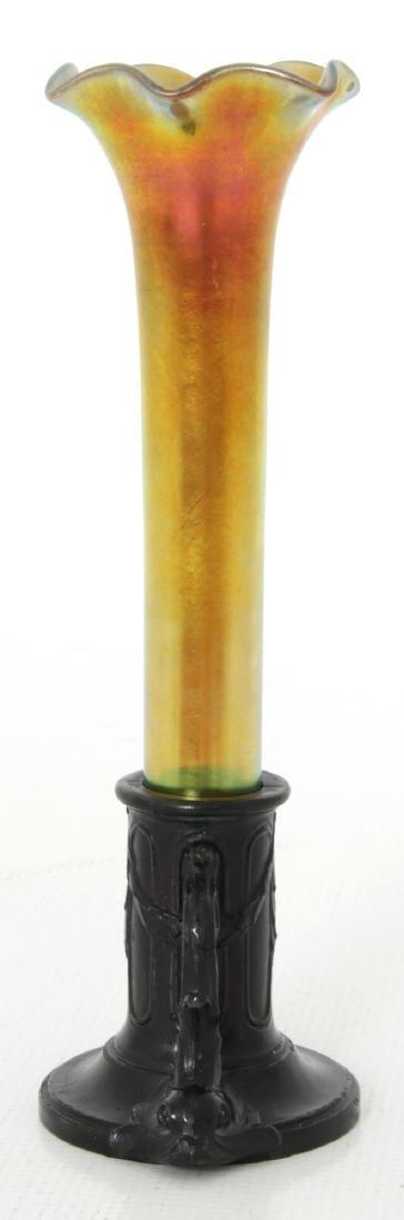 Gold Iridescent Bud Vase attr. Kew Blas - 2