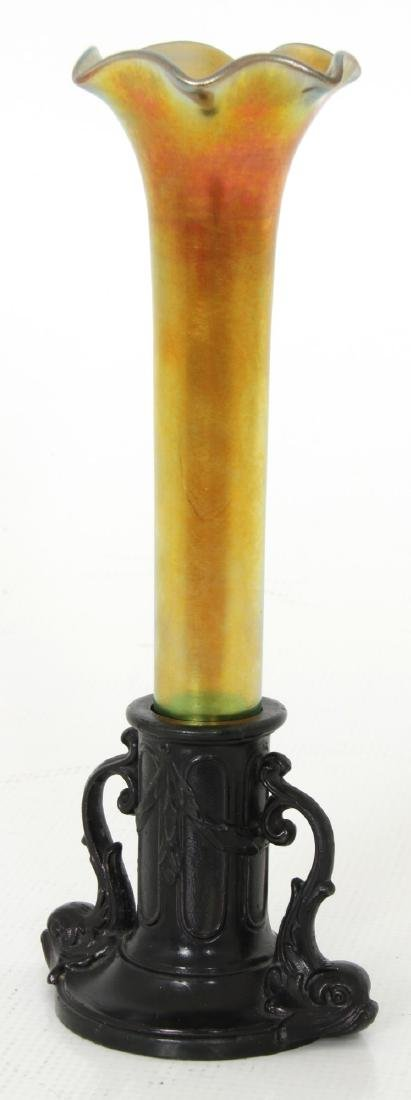 Gold Iridescent Bud Vase attr. Kew Blas - 3