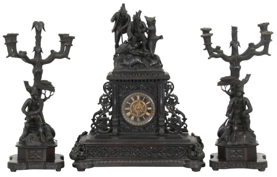 3 Pcs. Carved Black Forest Clock Set