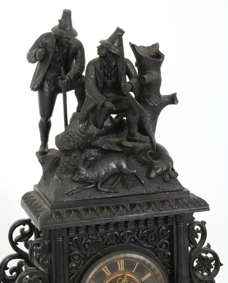 3 Pcs. Carved Black Forest Clock Set - 3