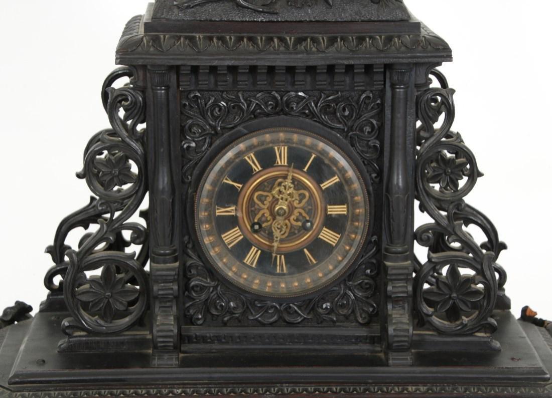 3 Pcs. Carved Black Forest Clock Set - 4