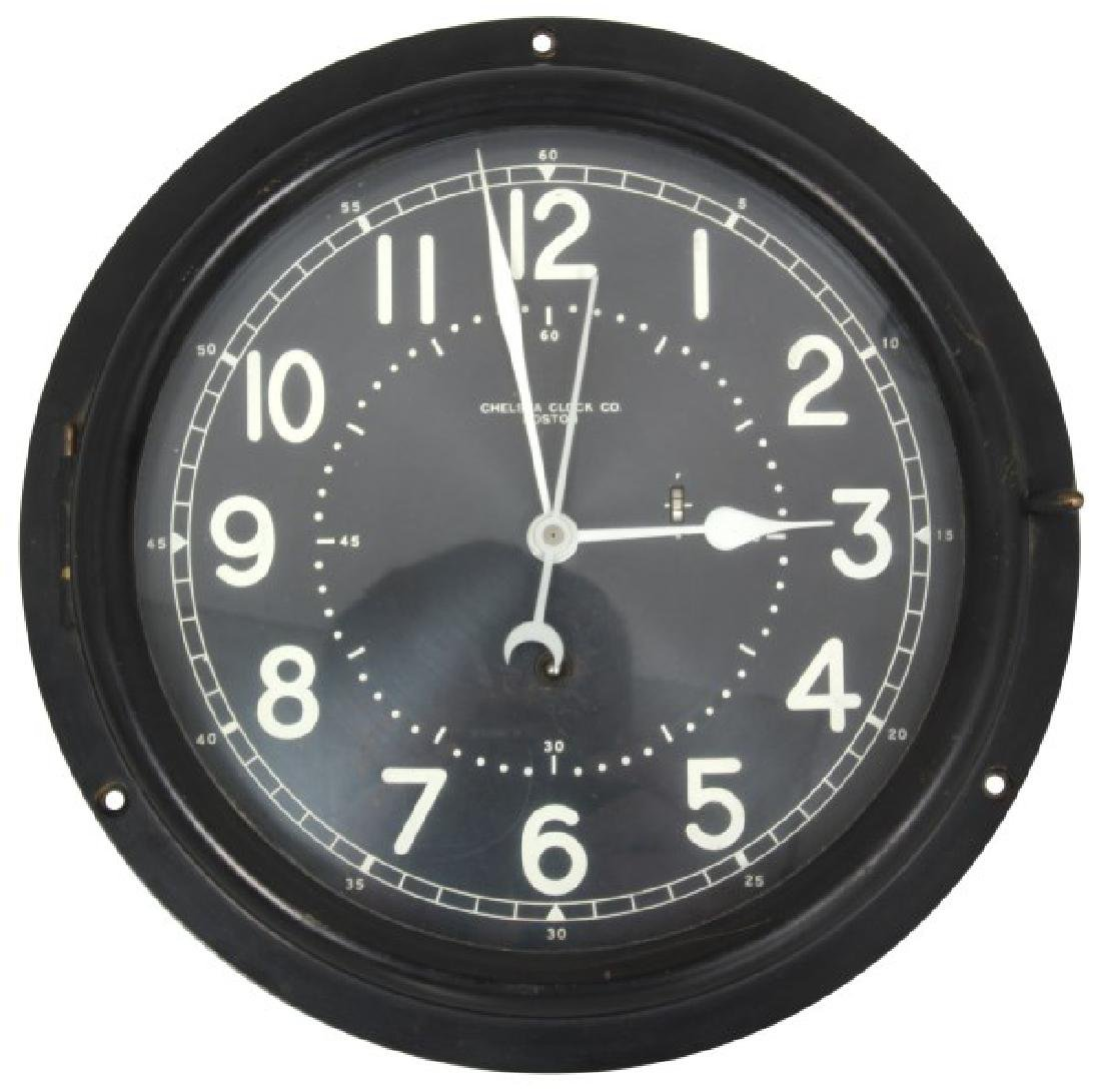Wall Mounted Chelsea Black Dial Marine Clock