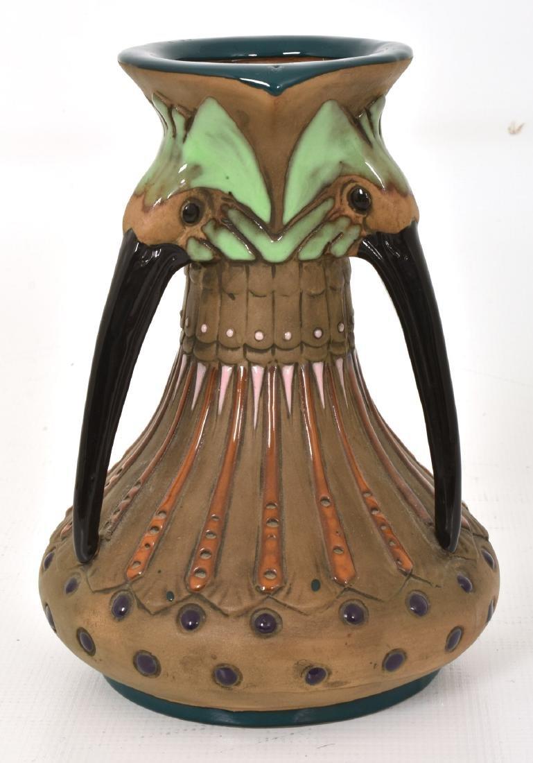 Amphora Handled Vase With Birds - 3