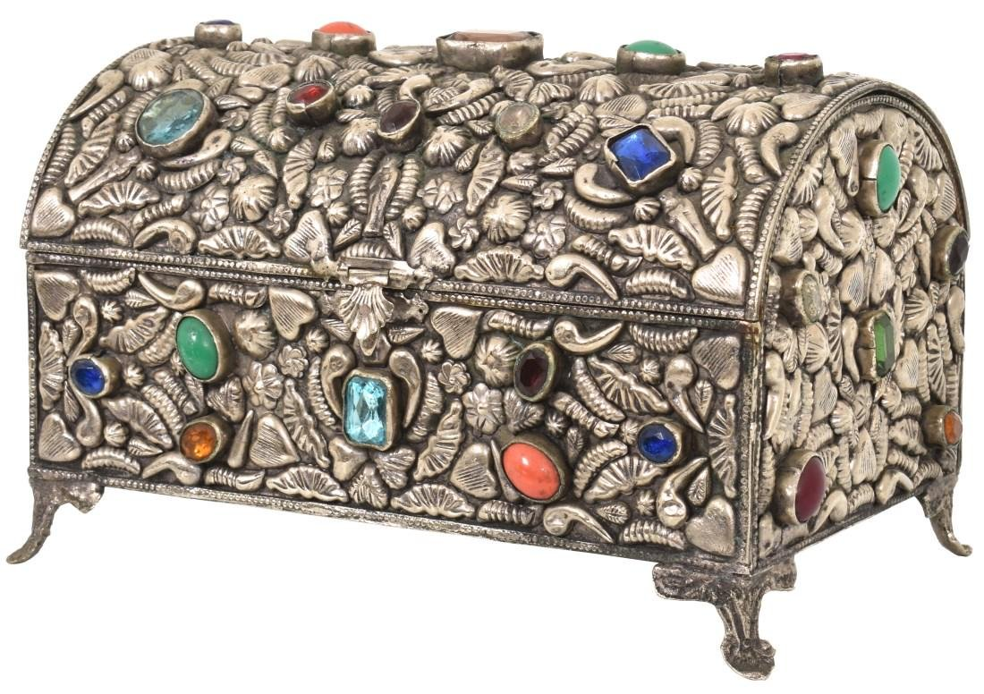 Silver Plated Jeweled Jewelry Casket