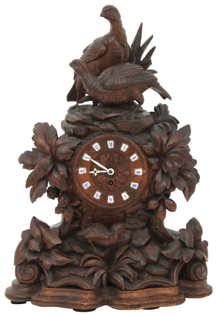 Black Forest Carved Mantle Clock