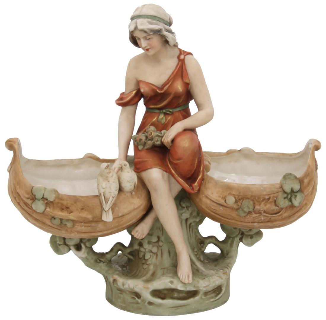 Royal Dux Porcelain Figural Centerpiece