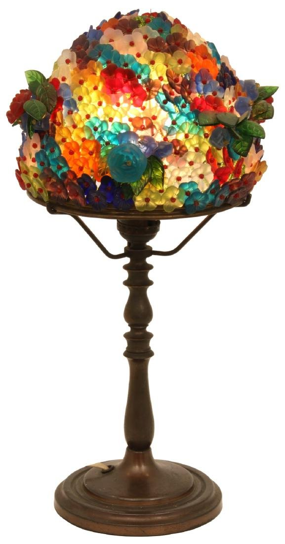 8 in. Czech Glass Floral Boudoir Lamp