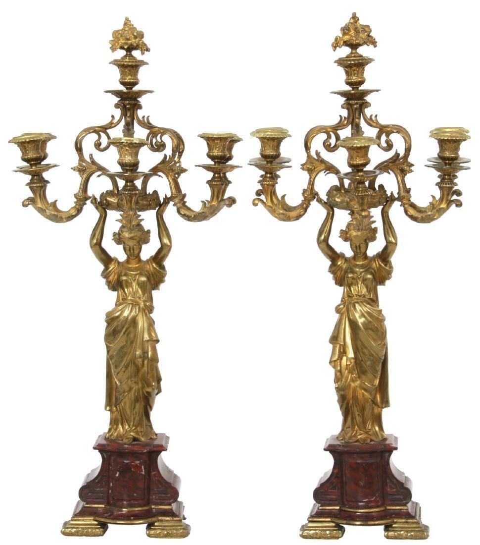Pr. Marble & Bronze Candelabra