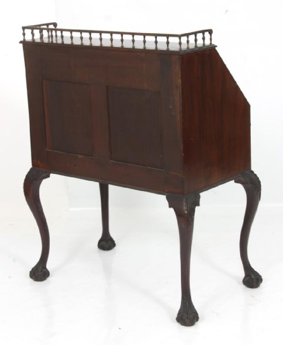 Imlaid Mahogany Slant Front Desk - 10