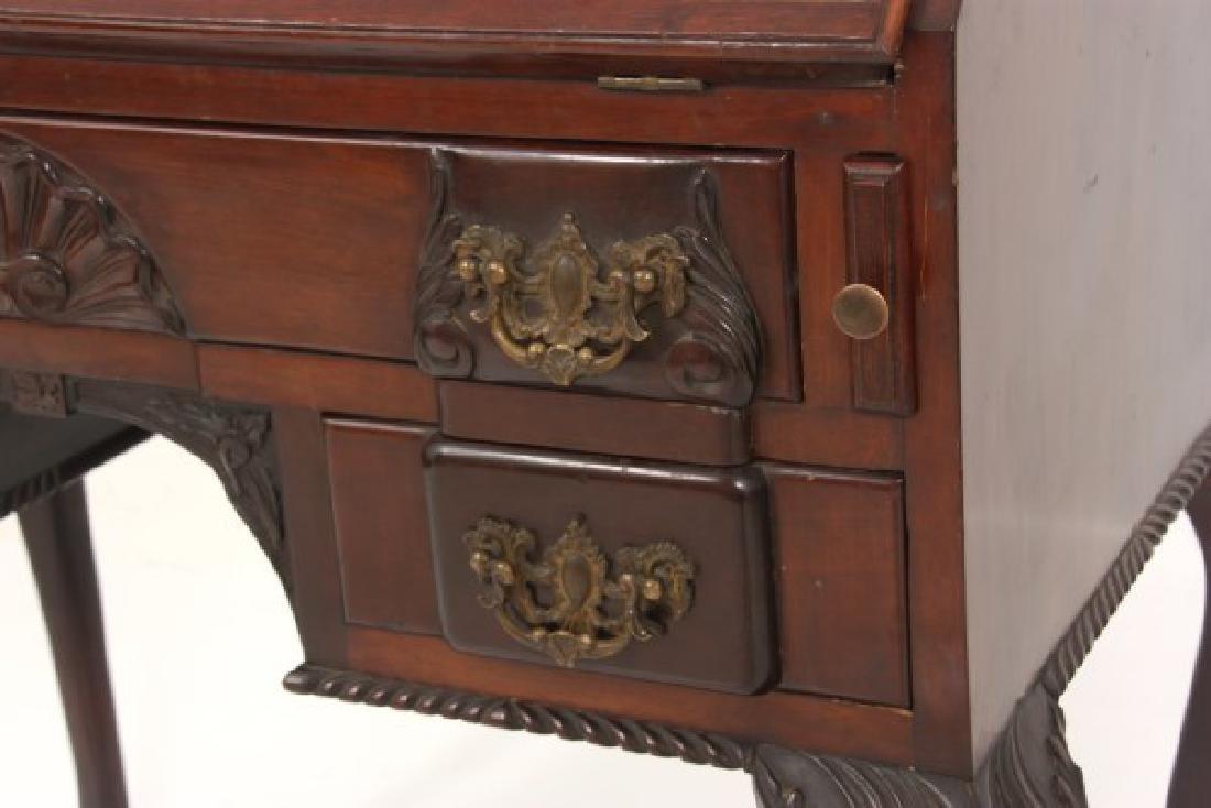 Imlaid Mahogany Slant Front Desk - 4