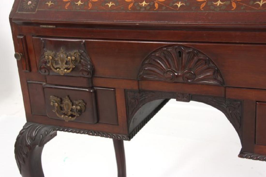 Imlaid Mahogany Slant Front Desk - 5