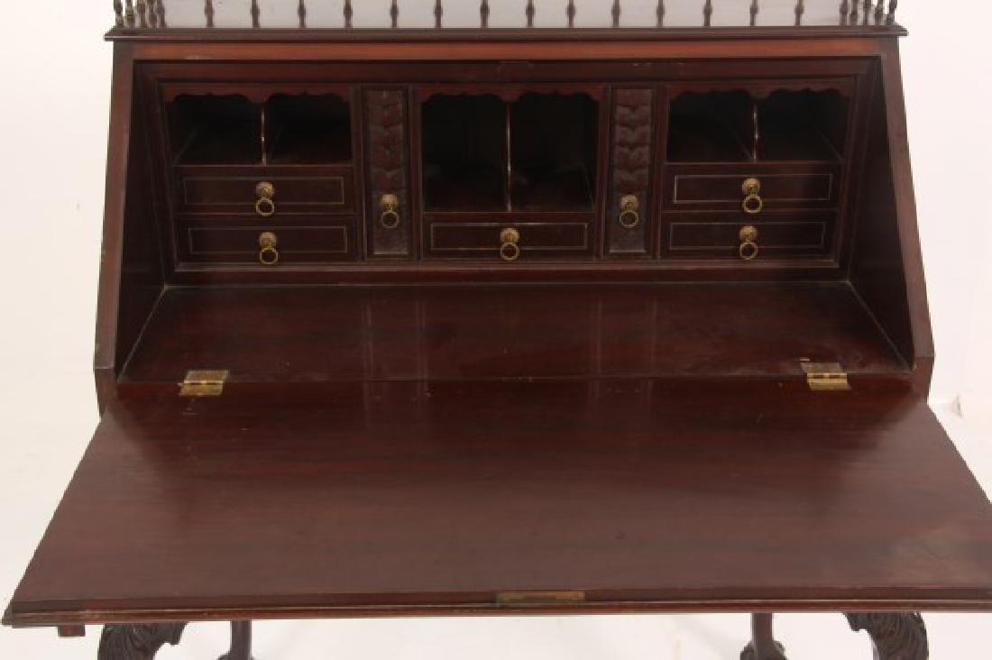Imlaid Mahogany Slant Front Desk - 8