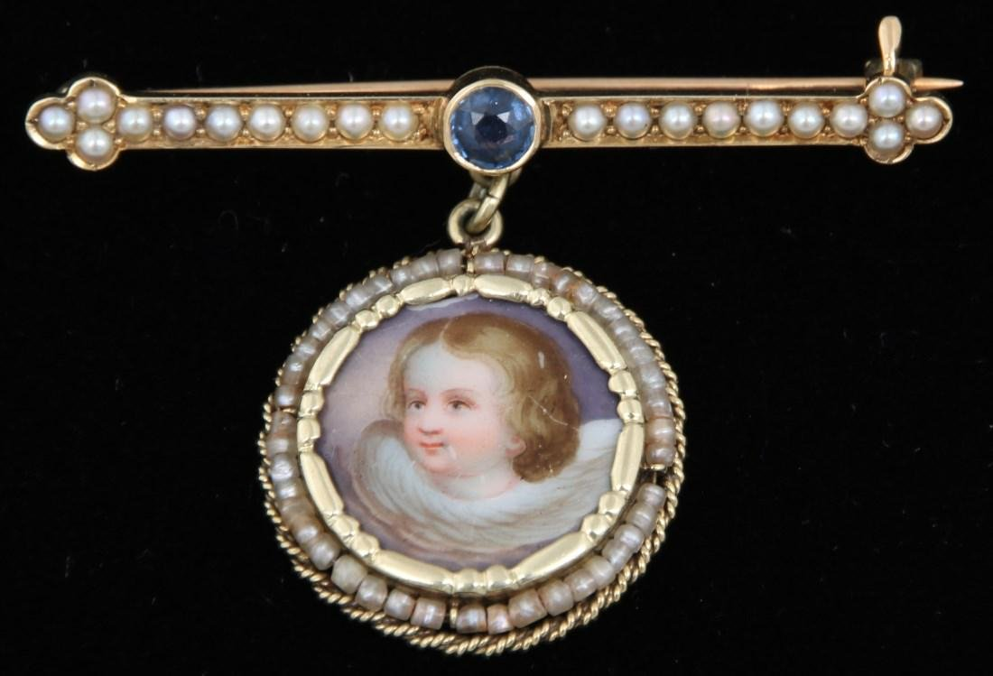 14K Pearl, Sapphire and Porcelain Pin