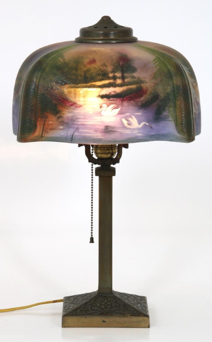11.5 in. Pittsburgh Reverse Painted Table Lamp