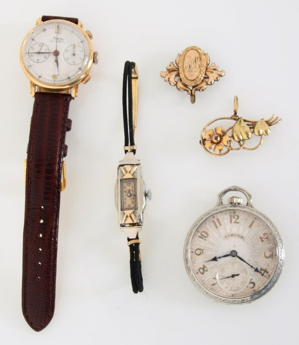 Lot Of 3 Estate Watches and 2 Pins