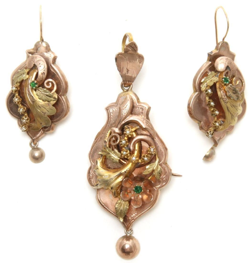14K Gold Filigree Pendant and Earrings
