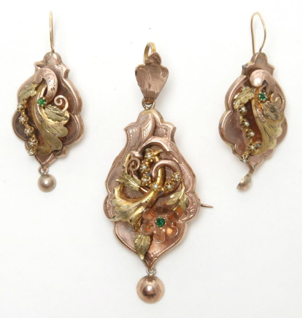 14K Gold Filigree Pendant and Earrings - 2