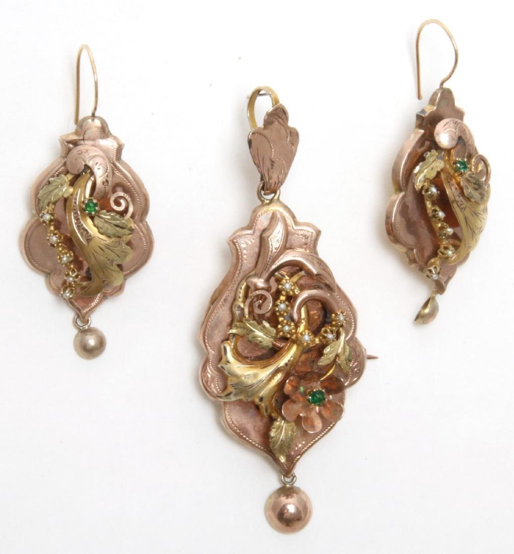 14K Gold Filigree Pendant and Earrings - 3