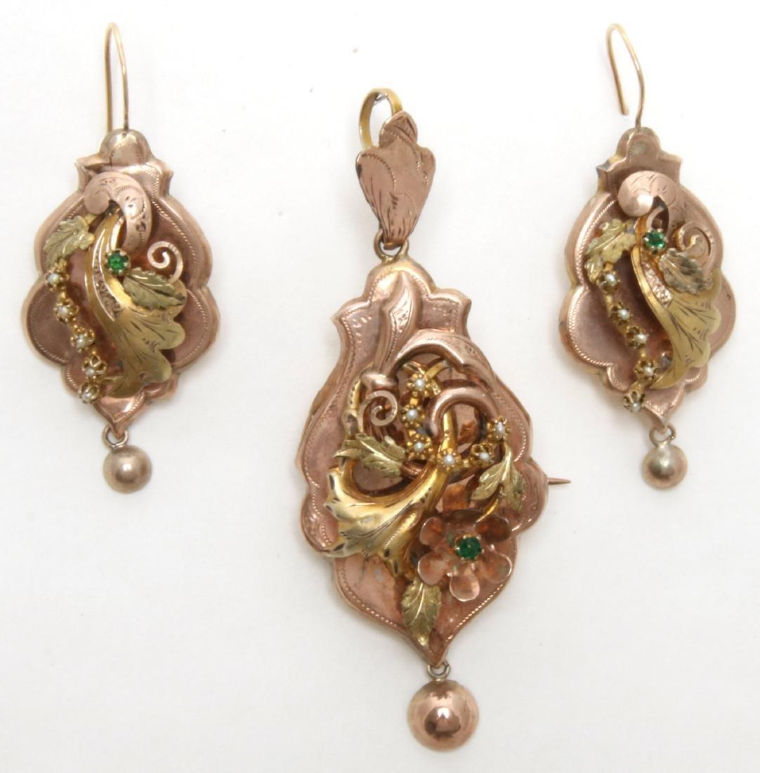 14K Gold Filigree Pendant and Earrings - 4