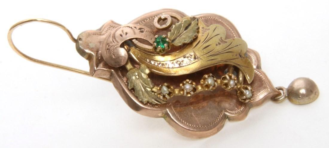 14K Gold Filigree Pendant and Earrings - 5