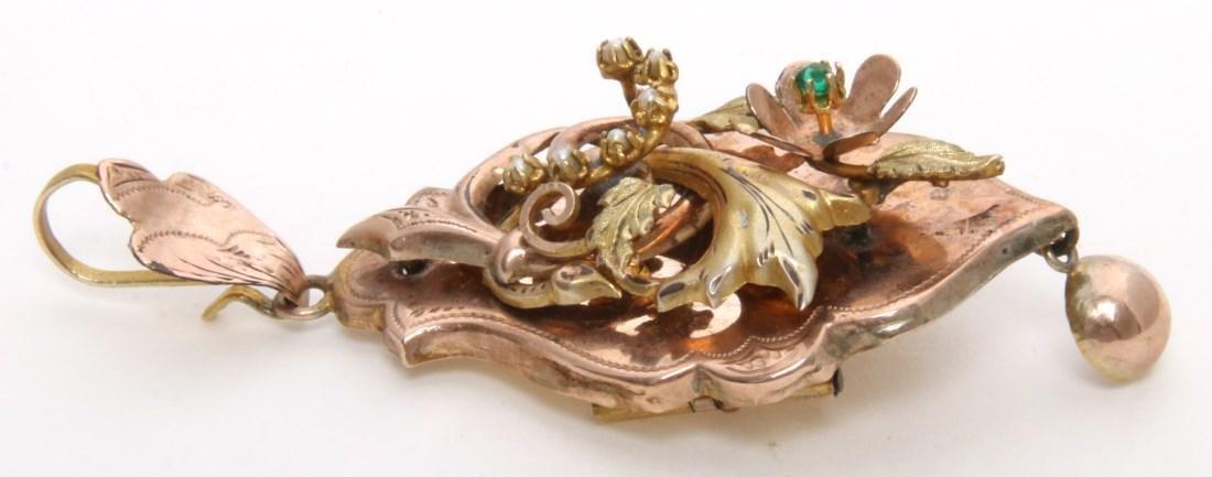 14K Gold Filigree Pendant and Earrings - 8