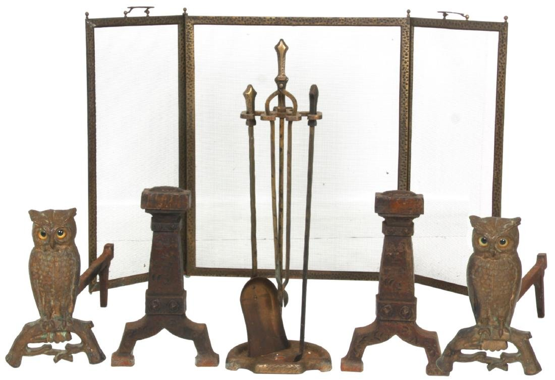 2 Sets of Andirons & Fireplace Tools