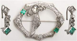 14K Diamond and Emerald Earrings with Brooch