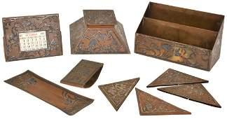 6 Pcs Heintz Sterling On Bronze Desk Set