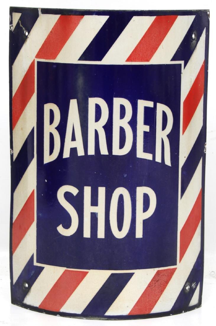 Curved Porcelain Barber Shop Corner Sign