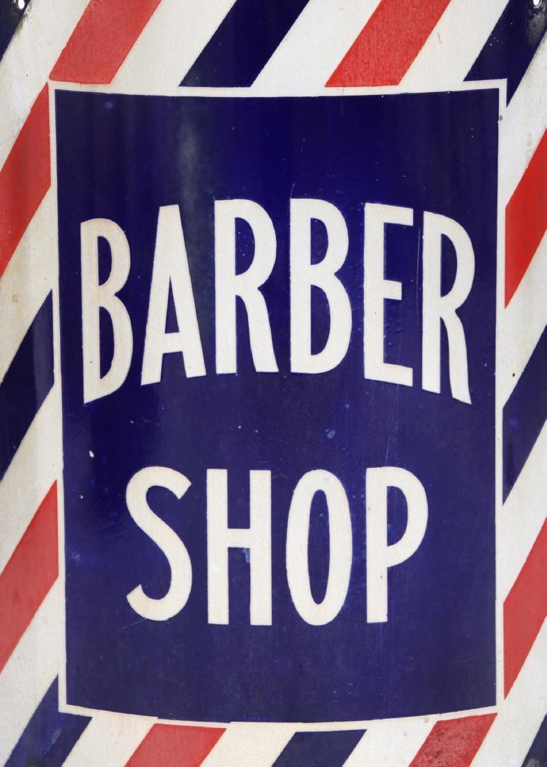 Curved Porcelain Barber Shop Corner Sign - 3