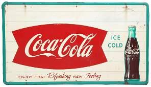 Coca-Cola Fishtail Self Framed Tin Sign