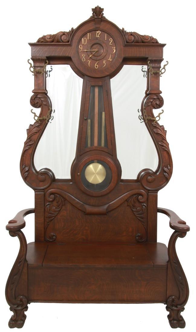 Oak Waterbury Halltree Clock