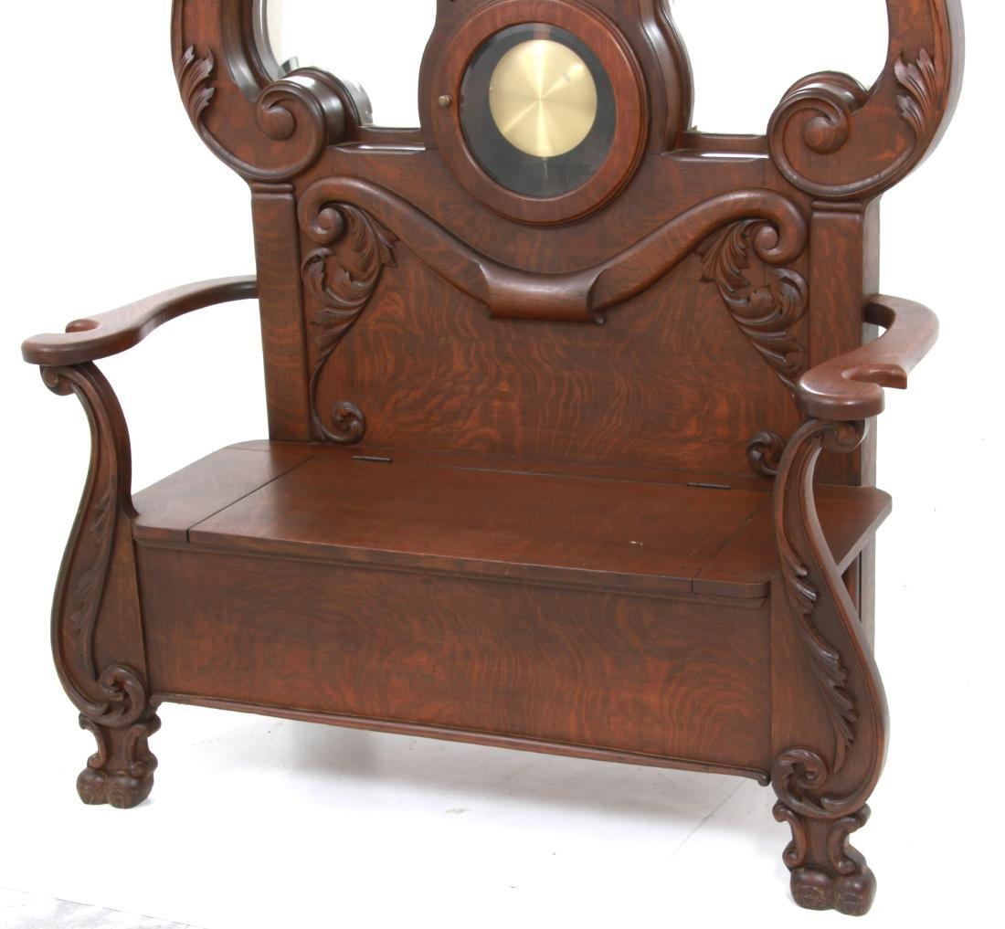 Oak Waterbury Halltree Clock - 2