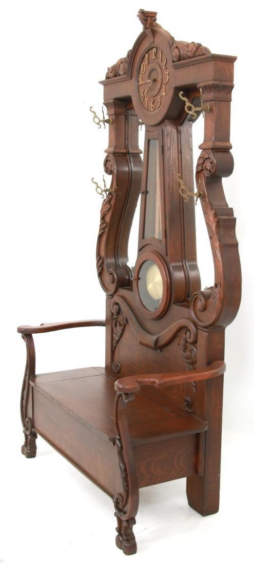 Oak Waterbury Halltree Clock - 5