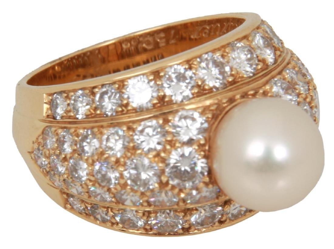 Cartier 18K Gold, Diamond & Pearl Ring