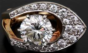 3 Ct Diamond  18K Gold Ring